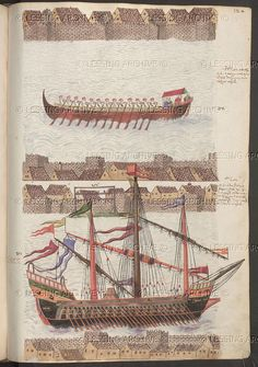Various types of ship from the Ottoman Empire.