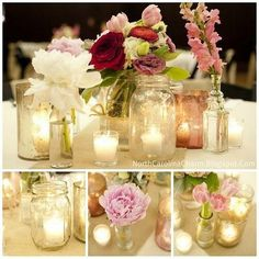Another good example of what I have in mind for centerpieces. Just NOT mason jars- some other vessels instead. Love the single bud/small bunch of flowers/candles mix. Throw in couple tall tapers on some tables and a little lantern on others.