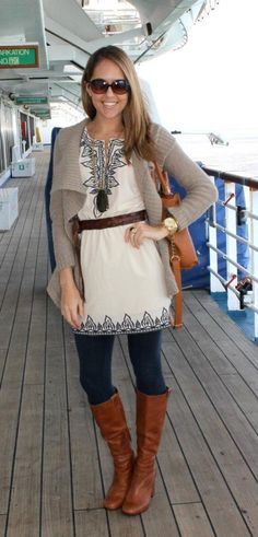 I really like this entire outfit ! The winter white dress, coordinates , so very well, with this cardigan, boots and the belt perfectly. A great cooler month look !!!