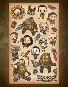 Bioshock Bioshock Rapture, Bioshock Infinite, Bioshock Artwork, Bioshock Tattoo, Bioshock Game, Bioshock Series, Gamer Tattoos, Gaming Tattoo, Painting Collage