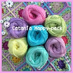 Catania Happy-pack - 7-pack med glada färger Crochet Art, Catania, Packing, Easter, Happy, Fabric, How To Make, Diy, Color