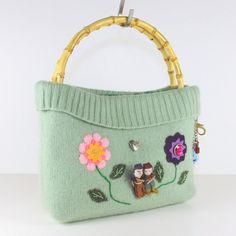 Appliqued Handbag Eco Chic Bag Repurposed Pouch by MisqueManuf, $65.00