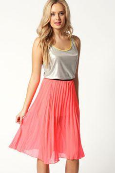 #boohoo                   #Skirt                    #Hailie #Georgette #Pleated #Knee #Length #Skirt    Hailie Georgette Pleated Knee Length Skirt                                    http://www.seapai.com/product.aspx?PID=424554