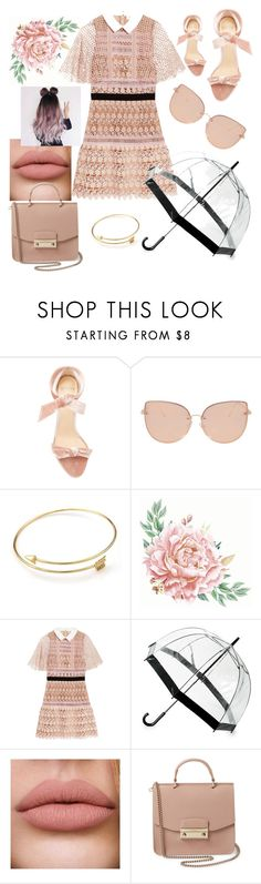 """Preppy Nude"" by emz-golden ❤ liked on Polyvore featuring Alexandre Birman, Topshop, self-portrait, Saks Fifth Avenue and Furla"
