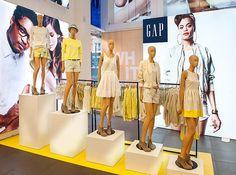 "GAP,London,UK, ""Taking a Step Beyond"", by Display Logic Limited,UK, pinned by Ton van der Veer Boutique Clothing, Women's Clothing, Clothing Displays, Retail Store Design, Retail Windows, Market Stalls, Shop Fronts, Window Displays, Focal Points"