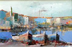Branko Dimitrijevic, Boats, Oil on canvas, 20x30cm