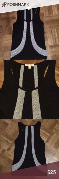 PH8 studded Tank Top Black and Gray  OH8  sleeveless top, Racer back, with silver studs in Very Good condition, XS fits S.  Shown with American Eagle fitted tank. PH8 Tops Tank Tops