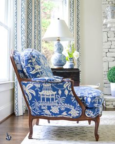 Ethan Allen chair First day of summer break and we are heading to NY! Can't wait to see family and enjoy some cooler temps. This week has been super hot in… Chair And Ottoman, Upholstered Chairs, British Colonial Decor, French Colonial, Love Chair, Chinoiserie Chic, Take A Seat, Furniture Restoration, Living Room Sets