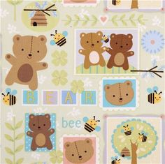 pale green bear fabric Little Brown Bear Quilting Treasures