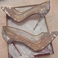 cinderella stiletto heels / glitter pumps / women's shoes from Louboutin Cute Shoes, Me Too Shoes, Fancy Shoes, Prom Heels, Wedding High Heels, Sparkly High Heels, Shoes For Wedding, Wedding Heals, High Heels For Prom