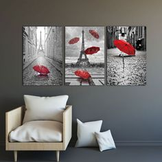 3 piece canvas Painting home decor wall Art Black and White Tower with Red umbrella on Paris Street Romantic Picture Visit the post for more. Canvas Frame, Canvas Art, Paris Canvas, Umbrella Painting, Modular Walls, Multi Picture, Love Wall Art, Red Umbrella, Romantic Pictures