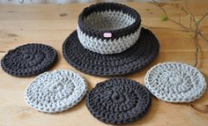 Crochet Round Placemat, Coasters & Basket Set by ThoughtsofHomeDecor on Etsy Handmade using cotton cord