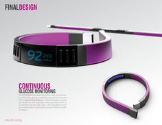 inTouch Diabetes Bracelet by Micah Lang. (concept) Discreet, user-centric continuous glucose monitoring for type 1 #diabetes. Would work via near-infrared spectroscopy.