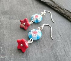 Turquoise and red delicate flower earrings, sterling silver ear wires £10.00