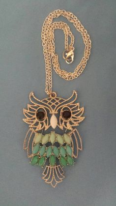 !NEW! Silver owl necklace♡  https://www.etsy.com/listing/229622251/owl-with-layered-colors-pendant-and