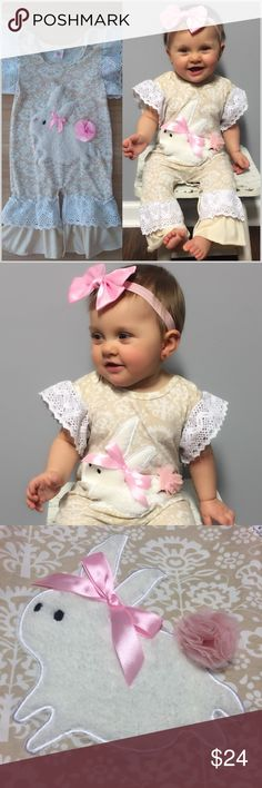 🆕 Easter Bunny Romper 🐰 Easter is just around the corner!  Order now before they're gone!!  White lace accents on ruffled sleeves and ankles.   Bunny is fur, wearing a bow and has tulle tail in pink. 💕  95% Cotton 5% Spandex   ❗️Price is Firm. No offers please.❗️ #PG772871 One Pieces