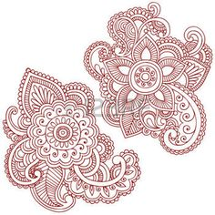 henna design: Hand-Drawn Abstract Henna (mehndi) Paisley Doodle Illustration Design Elements