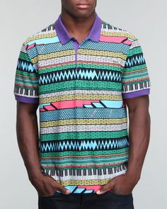 Shops Indiaviolet - Buy From The Best: Lacoste Live Men S/s All Over Geometric Print Mini Pique Polo,$98.00