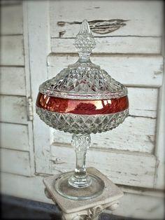 vintage pressed glass diamond cut candy dish with lid, crystal candy dish, pedestal candy dish, vintage wedding candy dish. $55,00, via Etsy.