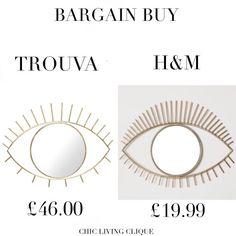 Bargain Swap: Gold Eye-Shaped Wall Mirror – Chic Living Clique Gold Eyes, Eye Shapes, Wall Mirror, Chic, Golden Eyes, Shabby Chic, Elegant
