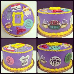 """Another Pinner said"""" Friends TV show themed cake. Might use this idea for my little sister's bday cake! She is obsessed with this show! Friends Birthday Cake, Friends Cake, Themed Birthday Cakes, Themed Cakes, Friends Tv Show Gifts, Thirty Birthday, 13th Birthday, Birthday Ideas, Cupcakes"""