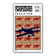 Vintage Biplane Propeller Airplane on Burlap Print Stamp