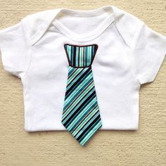 Baby Boy Neck Tie Onesie Clothing - Aqua, Blue and Brown Tie in your choice of Short Sleeve or Long Sleeve Onesie - Trendy Baby Boy - great for photo shoots!