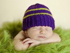 Ravelry: Plain and Striped Newborn Purple Hat pattern by Olha