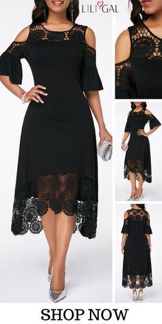 Cold Shoulder Flare Sleeve Crochet Detail Dress, worldwide and easy returns, Elegant Dresses, Pretty Dresses, Sexy Dresses, Vintage Dresses, Beautiful Dresses, Casual Dresses, African Fashion Dresses, African Dress, Fashion Outfits