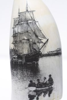 'Charles W. Morgan Drying Sails' scrimshaw by Gerry Dupont. Amazingly detailed black and white scrimshaw on a whale's tooth by Gerry Dupont. Nature Crafts, Sailing Ships, Mammals, Horns, Folk Art, Whale, Carving, Black And White, History