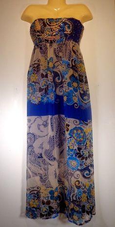 Womens Long Strapless Dress SANS SOUCI Sz Medium Sequins Blue Print Summer Sheer #SANSSOUCI #Maxi #Clubwear #strapless #sheer #long #hippie
