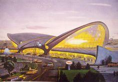 The JFK Trans World Airlines (TWA) terminal was designed by the great Finnish architect Eero Saarinen in Eero Saarinen, Airport Architecture, New Architecture, Vintage Architecture, Beautiful Architecture, Oscar Niemeyer, Louis Kahn, Twa Flight Center, Shell Structure
