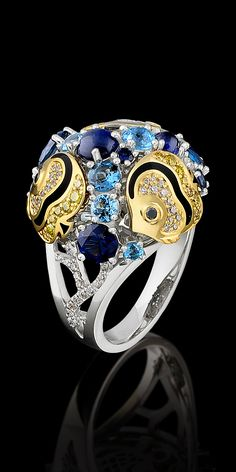 Segredos do oceano: Coleção  Amarelo e ouro branco 750, diamantes, diamantes negros, diamantes amarelos, safiras azuis, topázio, topázio London azul, esmalte.