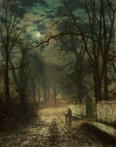 A Moonlit Lane, John Atkinson Grimshaw