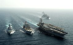 Download wallpapers USS Dwight D Eisenhower, CVN-69, HMS Dragon, D35, American aircraft carrier, British destroyer, sea, Nimitz, warships, US Navy, Royal Navy