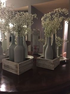 Gray Wine Bottles, White Flowers, Crate