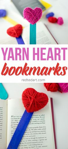 A great fine motor skills activity for Valentine's Day. Not only are these little Yarn Heart Bookmarks gorgeous, but they make a great practical gift on Valentines Day Valentine's Day Crafts For Kids, Valentine Crafts For Kids, Mothers Day Crafts, Valentines Diy, Pinterest Valentines, Funny Valentine, Valentinstag Party, Heart Bookmark, Bookmark Craft