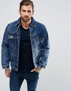 Illusive London Muscle Denim Jacket With Distressing - Blue Team Jackets, Men's Jackets, Outdoor Coats, Asos Men, Denim Jacket Men, Denim And Supply, Pepe Jeans, Asos Online Shopping, Latest Fashion Clothes