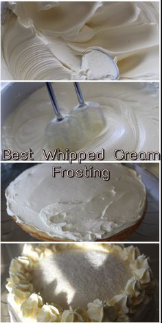 Perfect 3 Ingredient Whipped Cream Frosting - catch the wave - - light, fluffy and delicious frosting. Wipped Cream Frosting, Stabilized Whipped Cream Frosting, Whipped Frosting, Icing Frosting, Wedding Cake Frosting, Pudding Frosting, Cupcake Frosting Recipes, Buttercream Roses, Icing Recipes