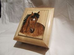 Jewelry / Trinket wood box with a hand painted horse on the lid. by TrailRider on Etsy