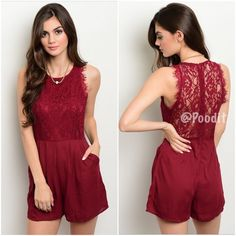 "NEWgorgeous wine dressy romper S M L  PRICE IS FIRM UNLESS BUNDLED   Small Medium  Large   wine lace bodice romper Measurements are max No stretch EXCELLENT QUALITY  Small bust up to 32 waist up to 26 hips up to 34 Med bust up to 34 waist up to 28 hips up to 36 Large bust up to 36 waist up to 30 hips up to 38  Girth (top of shoulder to crotch) 29"" Total length top of shoulder down 30""  Fully lined  I recommend nude undergarments  Pleated front  Zipper back Hidden side pockets 100% polyester…"