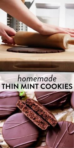 Here's exactly how to make homemade thin mint cookies using a simple from-scratch cookie dough recipe with cocoa powder, real chocolate, and peppermint. Try them cold or out of the freezer– they're incredible! Recipe + video tutorial on sallysbakingaddiction.com #cookierecipes #mintrecipes #baking #bakingvideos #girlscoutcookies Cookie Dough Recipes, Homemade Cake Recipes, Mint Recipes, Healthy Recipes, Cocoa Powder Recipes, Delicious Desserts, Yummy Food, Thin Mint Cookies, Sallys Baking Addiction