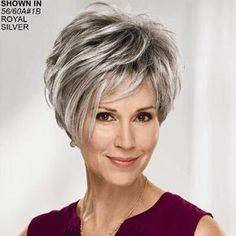 Fashion Older Ladies Short Grey Hair Wig Grey Hair Wig, Short Grey Hair, Medium Short Hair, Short Hair With Layers, Short Hair Cuts For Women, Medium Hair Styles, Curly Hair Styles, Short Stacked Hair, Short Hairstyles For Thick Hair