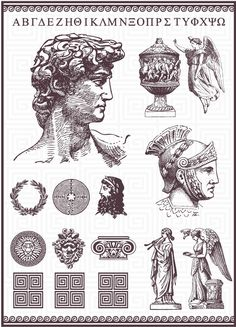 This Roman Vector Pack with elements about Roman and Greek Culture, was the of the most complicated design of all until now but I'm sure you will enjoy this as . Roman Drawings, Tattoo Drawings, Art Drawings, Statue Tattoo, Montain Tattoo, Tattoo Muster, Poses References, Roman Art, Greek Art