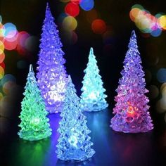 4.07AUD - Crystal Christmas Tree 7 Color Change Led Lamp Night Light Room Decoration #ebay #Home & Garden