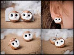 sooo cute! polymer clay barn owl earrings!