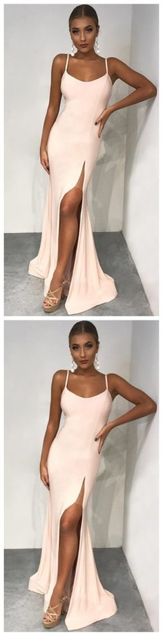 df6ac2e731 Mermaid Spaghetti Straps Floor-Length Pearl Pink Prom Dress with Split by  ainiprom