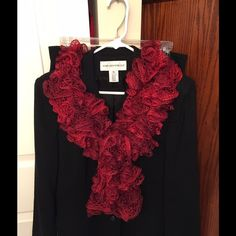Red Ruffle Scarf Red ruffle scarf. Hand knitted by seller. Accessories Scarves & Wraps