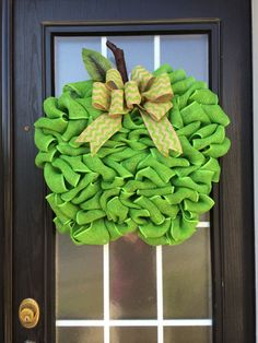 Extra Large Burlap Apple Wreath, Granny Smith Green Apple Door Hanger Made with Looped Burlap Ribbon; Teacher's Door Hanger; Teacher's Apple on Etsy, $54.99