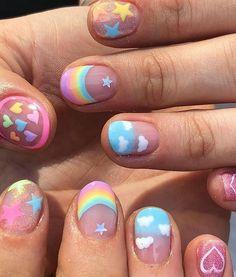 Cute Nail Art, Cute Nails, Pretty Nails, Nail Art Designs, Nagellack Design, Kawaii Nails, Unicorn Nails, Funky Nails, Pastel Goth Nails